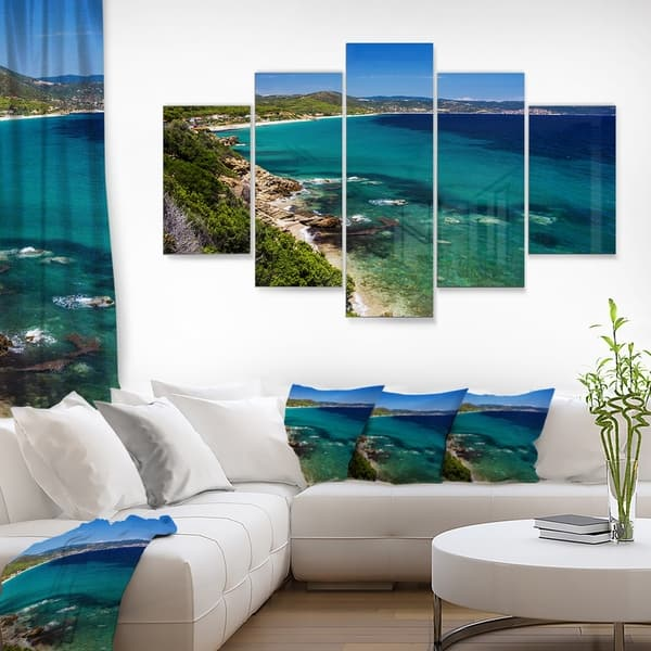 Designart Beautiful Greek Beach Of Sea Modern Seashore Metal Wall Art On Sale Overstock 13966558