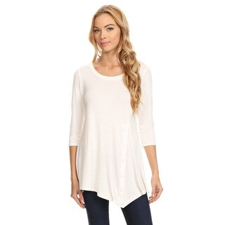 Women's Solid Button Trim Detail Tunic
