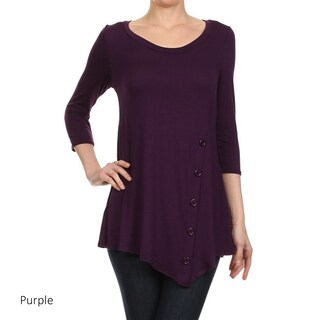 Women's Solid Button Trim Detail Tunic (3 options available)