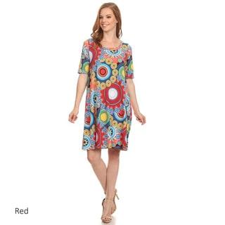 Women's Multicolor Spandex Ornate Floral Dress