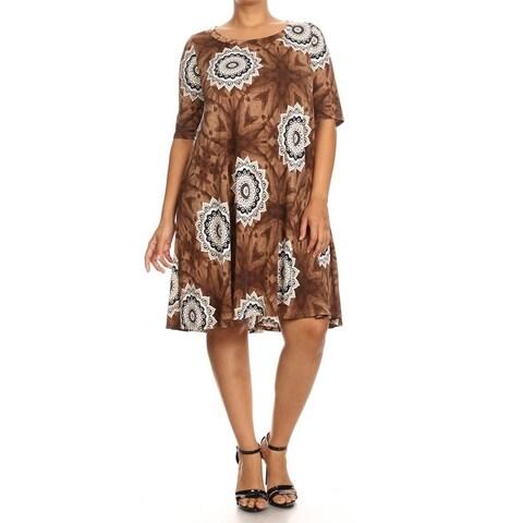 Women's Brown Spandex Blend Plus Size Medallion Floral Dress