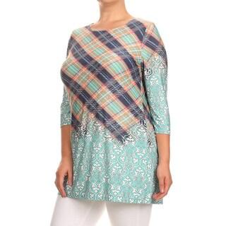 Women's Plus Size Plaid Pattern Tunic
