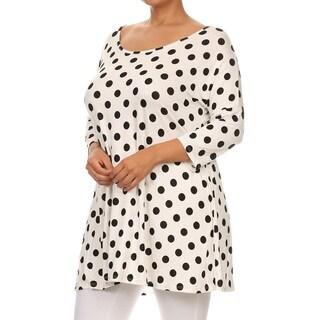 Women's Polka Dot Back Cutout Plus-size Tunic