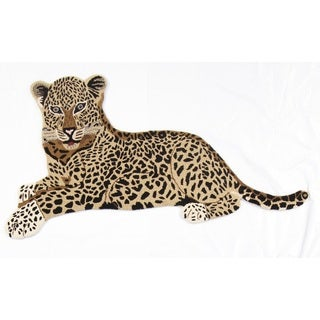 Multicolored Wool Hand-Tufted Jaguar Rug (2' x 4')
