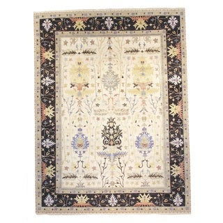 Ivory/Multicolor Wool Hand-knotted Oushak Rug (9' x 12')