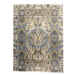 Hand-Knotted Brilan Suzani Ivory Wool Rug (8' x 10')