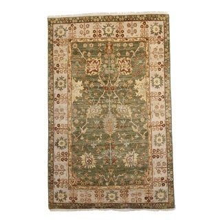 Hand-knotted Brilan Oushak Green Wool Rug (4' x 6')
