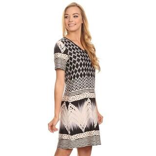 Women's Pattern V-neck Multicolor Spandex Short Dress