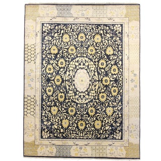 Hand-knotted Khotan Navy Wool Rug (9' x 12')