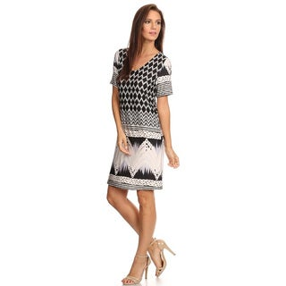Women's Patterned V-neck Short Dress