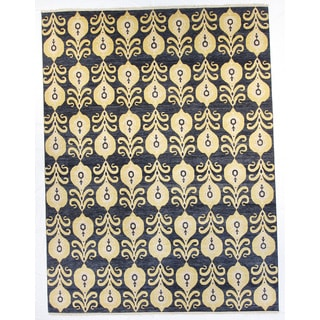 Pairs Blue/Grey/Navy Wool Hand-knotted Rug (9' x 12')
