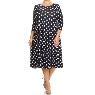 Women's Rayon and Spandex Plus-size Polka-dot Dress