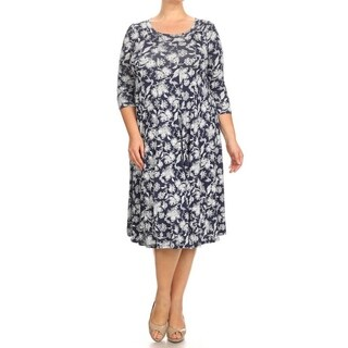 Women's Blue and Black Plus-size Floral Tapestry Short Dress