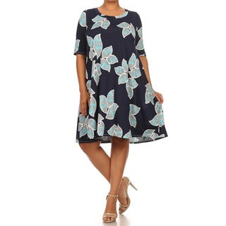 Women's Blue Rayon and Spandex Plus-size Floral Short Dress