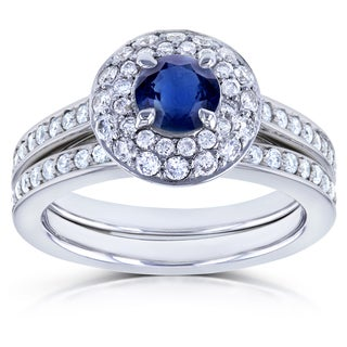 Annello by Kobelli 14k White Gold Blue Sapphire and 3/5ct TDW Diamond Dome Double Halo Bridal Rings 3pc (GH, I1-I2)