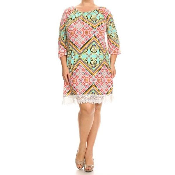 Shop Womens Chevron Crochet Lace Plus Size Dress Free Shipping
