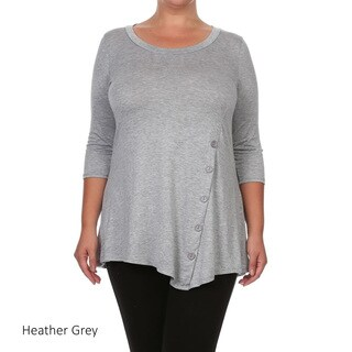 Women's Plus Size Button Trim Tunic
