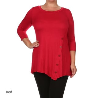 Women's Plus Size Button Trim Tunic