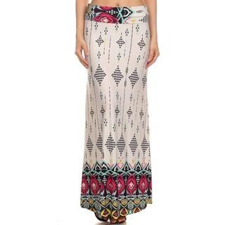 Women's Ivory Spandex Blend Border Print Maxi Skirt