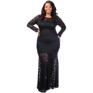 A-Plus Style Apparel Women's Black Lace A-Line Maxi Dress