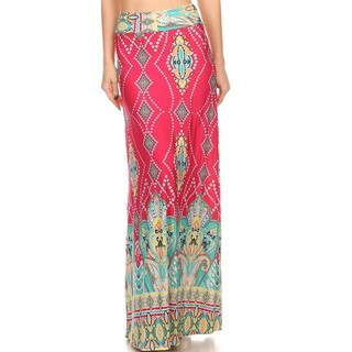 Women's Pink/Teal Spandex Blend Geometric Maxi Skirt