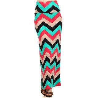 Women's Multicolor Chevron-print Maxi Skirt