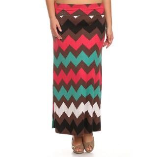 Women's Plus-size Chevron Striped Maxi Skirt