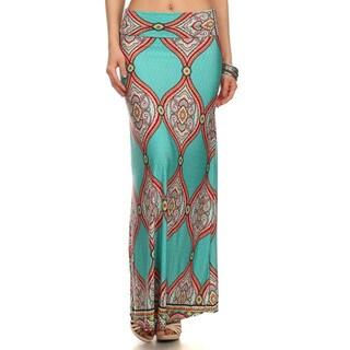 Women's Multicolored Mandala Print Maxi Skirt