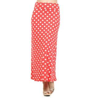 Women's Multicolor Spandex Polka Dot Maxi Skirt