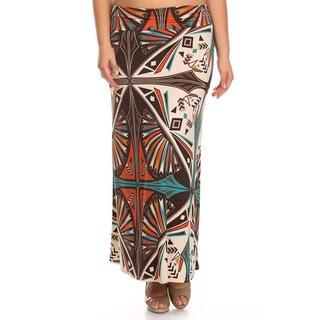 Women's Multicolor Plus-size Floral Medallion Maxi Skirt