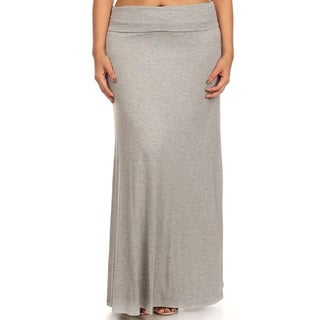 Women's Solid Rayon/Spandex Plus-size Maxi Skirt (Option: White)