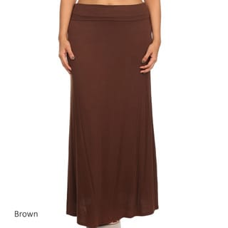 Women's Solid Rayon/Spandex Plus-size Maxi Skirt