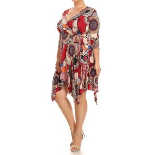 Women's Red Plus Size Medallion Abstract Dress