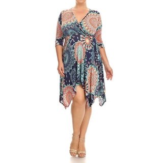 Women's Multicolor Plus-size Abstract Floral Dress