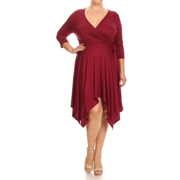 Shop Womens Rayon And Spandex Plus Size Solid Wrapped Bodice Dress