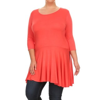Women's Plus Size Solid Pleated Hem Tunic
