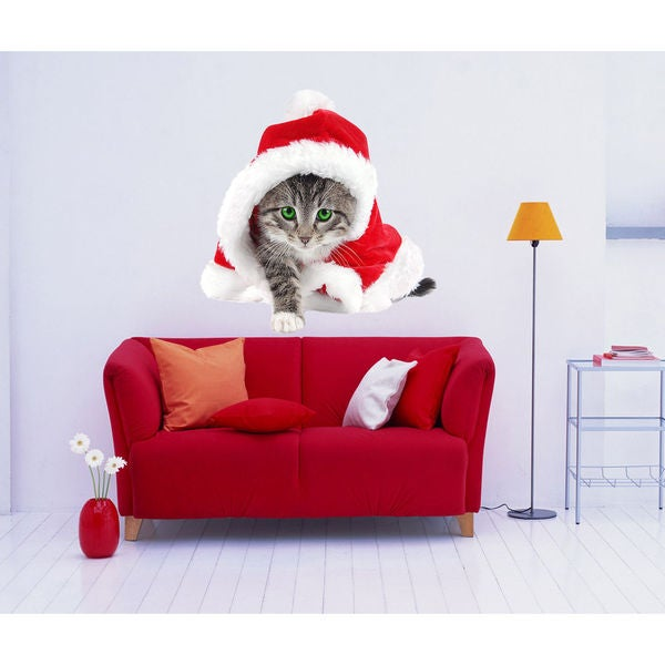 Full color decal Cat Santa Claus sticker, Cat Santa Claus wall art decal Sticker Decal size 22x26