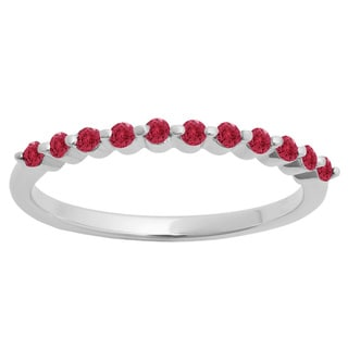 10k Gold 1/4ct Round Ruby 11 Stone Anniversary Wedding Stackable Band