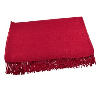 Handmade Alpaca and Acrylic Blend Throw Blanket with Fringe in Crimson Passion (Peru)