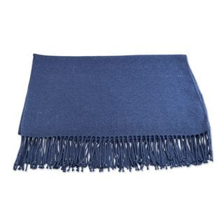 Handmade Alpaca and Acrylic Throw Blanket with Fringe in Cadet Blue (Peru)