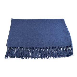 Handmade woven from an acrylic and alpaca blend for a warm, durable Blanket with Fringe in Cadet Blue made in Peru
