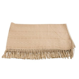 Handmade Alpaca and Acrylic Throw Blanket with Fringe in Sandy Passion (Peru)