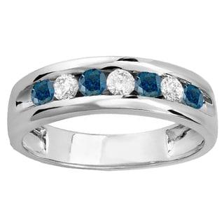 14k Gold Men's 7/8ct TDW Round White and Blue Diamond Wedding Ring (H-I, I1-I2)