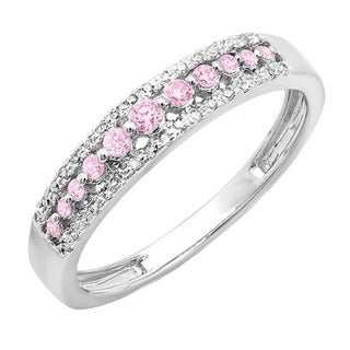 14k Gold 1/4 ct Round Pink Sapphire And White Diamond Wedding Band (H-I, I1-I2)