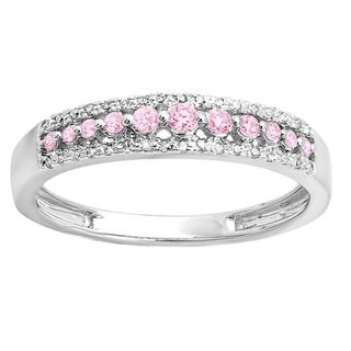 14k Gold 1/4 ct Round Pink Sapphire And White Diamond Wedding Band (H-I, I1-I2)