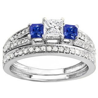 10k Gold 1ct Princess-cut Blue Sapphire and White Diamond Band Set (H-I, I1-I2)