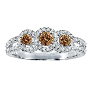18k Gold 1/2 ct TDW Round Champagne and Diamond 3 Stone Split Shank Bridal Ring (H-I, I1-I2)