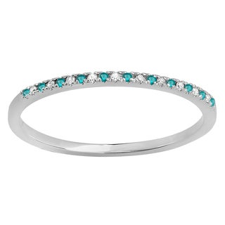10k White Gold 1/10ct TDW Round Blue and White Diamond Dainty Anniversary Stackable Ring (I-J, I2-I3)