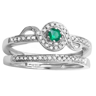 Sterling Silver 1/4 ct Round-cut White Diamond And Emerald Bridal Promise Ring Set (I-J, I2-I3)