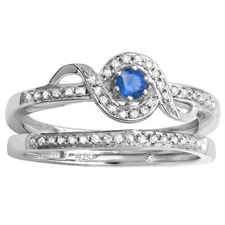 Sterling Silver 1/4ct Round White Diamond and Blue Sapphire Bridal Set (I-J, I2-I3)
